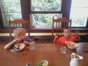Boys at dinner